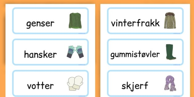 Winter Clothes Word Cards - winter clothes, word cards, winter, clothes - Norwegian