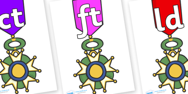 Final Letter Blends on War Medals - Final Letters, final letter, letter blend, letter blends, consonant, consonants, digraph, trigraph, literacy, alphabet, letters, foundation stage literacy