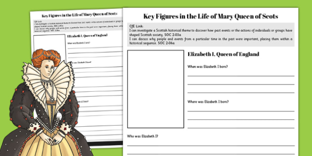 Elizabeth I - Mary Queen of Scots Key Figures Fact File - fact file, scotland