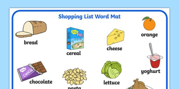 Shopping List Word Mat - shopping list, words, mat, word mat