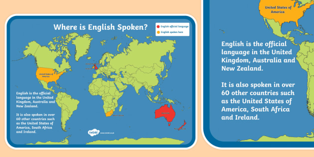 Where is English Spoken? A4 Display Poster