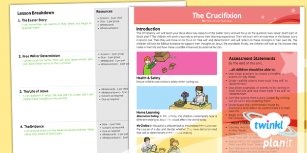 PlanIt - RE Year 6 - Free Will and Determinism-The Crucifixion Unit Planning Overview - planit, re, religious education, year 6, free will and determinism-the crucifixion, planning overview
