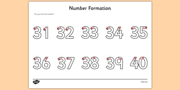 Number Formation Activity Sheet 31-40 - number formation, activity sheet, activity, number, formation, 31-40, worksheet