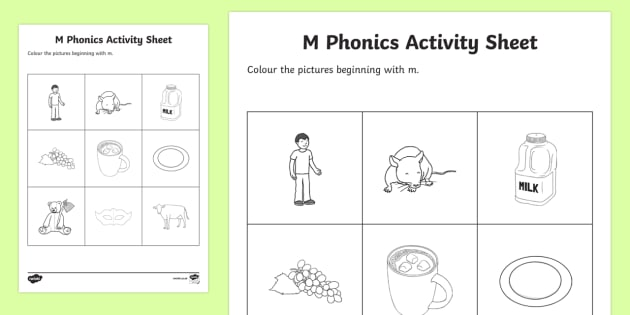 m Phonics Colouring Activity Sheet - Republic of Ireland, Phonics Resources, sounding out, initial sounds, phonics assessment, colouring,