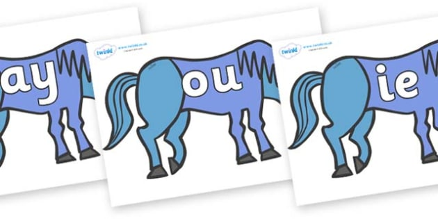 Phase 5 Phonemes on Blue Horse to Support Teaching on Brown Bear, Brown Bear - Phonemes, phoneme, Phase 5, Phase five, Foundation, Literacy, Letters and Sounds, DfES, display