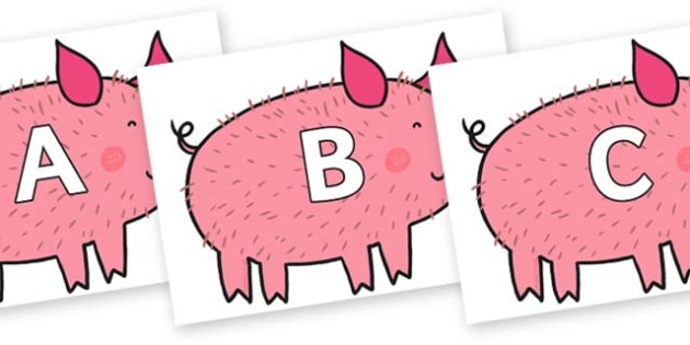 A-Z Alphabet on Hairy Hog to Support Teaching on What the Ladybird Heard - A-Z, A4, display, Alphabet frieze, Display letters, Letter posters, A-Z letters, Alphabet flashcards