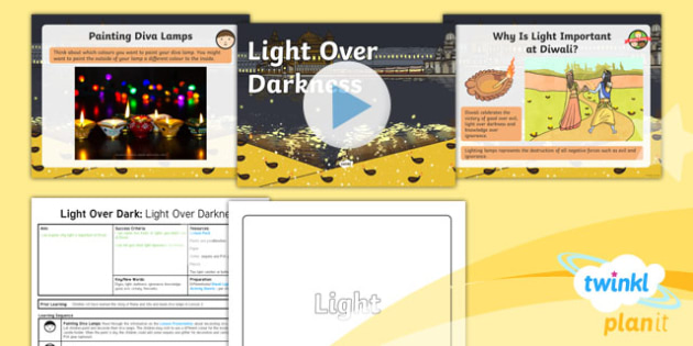 PlanIt - RE Year 2 - Light and Dark Lesson 4: Light over Darkness (Hinduism) Lesson Pack
