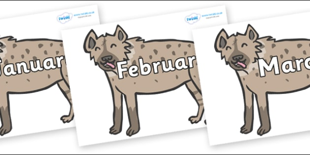 Months of the Year on Hyenas - Months of the Year, Months poster, Months display, display, poster, frieze, Months, month, January, February, March, April, May, June, July, August, September
