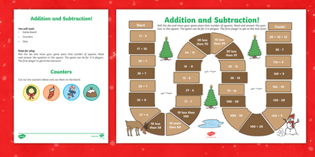 Year 2 Addition and Subtraction Christmas Themed Board Game-Welsh