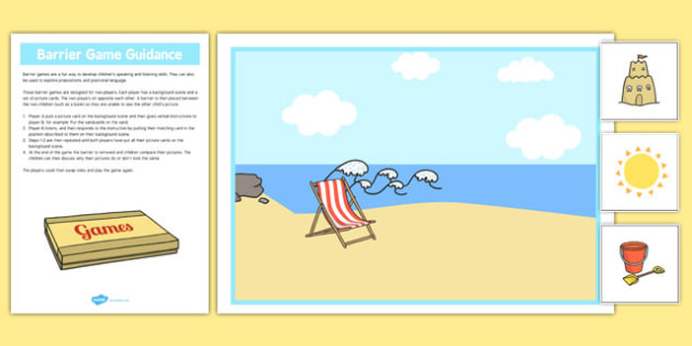 At The Seaside Barrier Game - language development, keywords, expressive skills, receptive skills, SLCN, barrier game, instructions