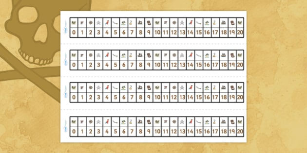 Pirates Number Track (1-20) - Pirates, Maths, Math, number track, farm, numbertrack, Counting, Numberline, Number line, Counting on, Counting back, Pirate, Topic, cutting, fine motor skills, activity,  pirate, pirates, treasure, ship, jolly roger, sh