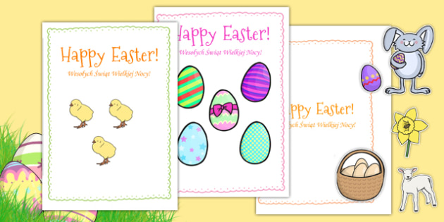 Easter Card Templates large Polish Translation - polish, Easter Topic, Easter, Happy Easter, easter story, resurrection, Christ, Jesus, card templates, cards, templates, postcard, independent writing, Easter, Easter resource, Easter teaching resource