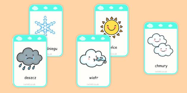 Weather Flashcards Polish - polish, weather, flashcards, flash cards