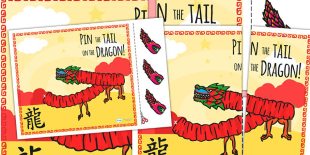 Chinese New Year Pin the Tail on the Dragon - chinese, dragon