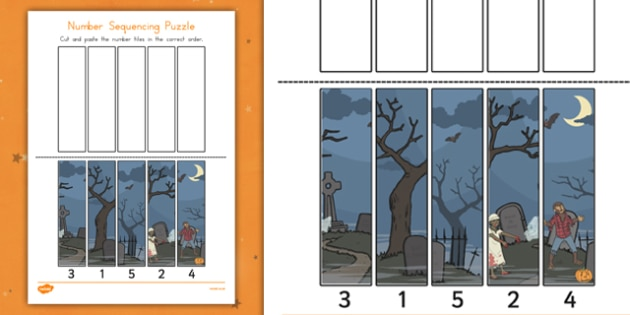 Halloween Number Sequencing Puzzles - patterns, topic, spooky, maths, ks1, order