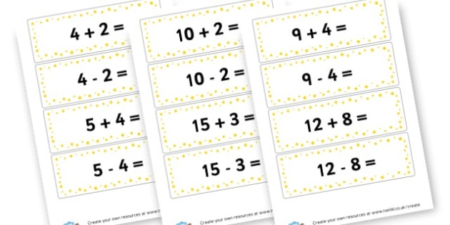 Addition and Subtraction Flashcards - Addition Primary Resources, add, plus, more, adding, activities