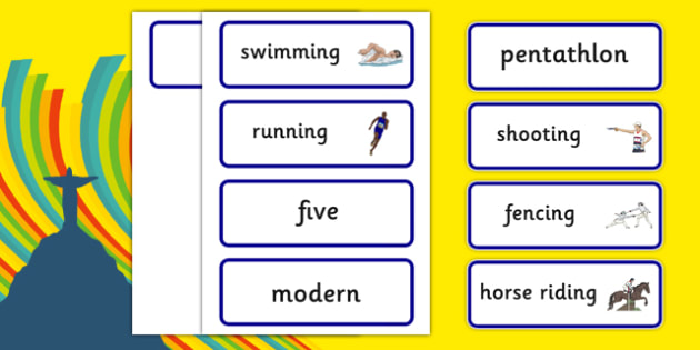 The Olympics Pentathlon Word Cards - Pentathlon, Olympics, Olympic Games, sports, Olympic, London, 2012, word card, flashcards, cards, activity, Olympic torch, events, flag, countries, medal, Olympic Rings, mascots, flame, compete