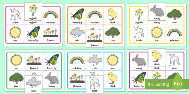 Spring Themed Bingo - EYFS, Early Years, KS1, seasons, activity, spring, bingo