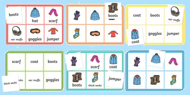 Winter Clothing Bingo