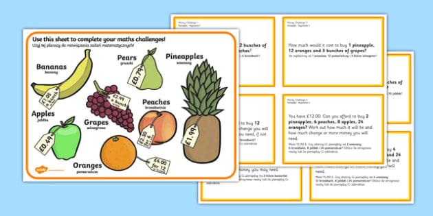 Maths Money Problems Challenge Cards English Polish Polish Translation-Polish-translation