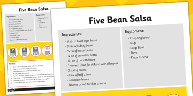 Recipe Card Five Bean Salsa - recipe card, five bean salsa, salsa