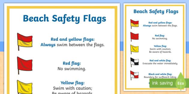 Beach Safety A4 Display Poster - Surf Life Saving Australialife guardlife saverlife savingflagsbeachbeach safety,Australia