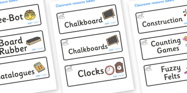 Swan Themed Editable Additional Classroom Resource Labels - Themed Label template, Resource Label, Name Labels, Editable Labels, Drawer Labels, KS1 Labels, Foundation Labels, Foundation Stage Labels, Teaching Labels, Resource Labels, Tray Labels, Pri
