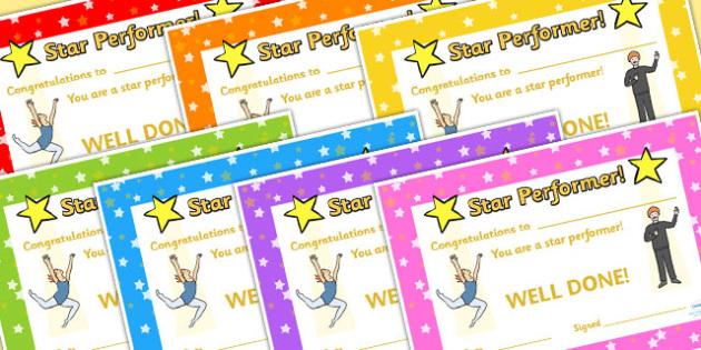 Star Performance Certificates - star performance, certificates, reward, reward certificates, certificate template, behaviour management, class management