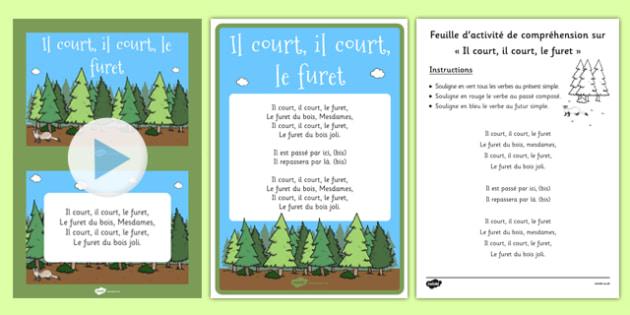 Il Court, Il Court, Le Furet Nursery Rhyme Pack French - french, language, il court, le furet, nursery rhyme, pack