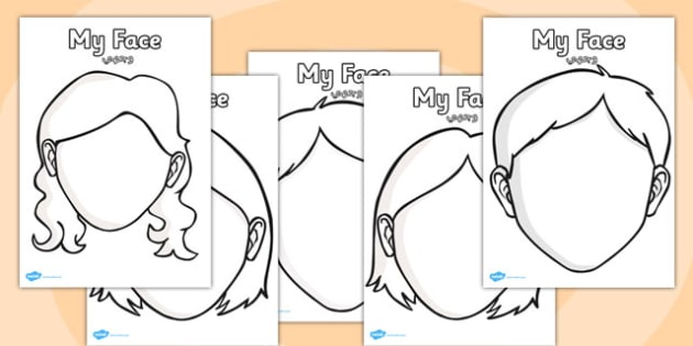 Blank Face Templates with Face Features Arabic Translation - arabic