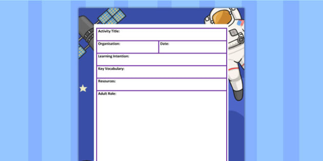 Space Themed Adult Led Carpet Based Activity Planning Template