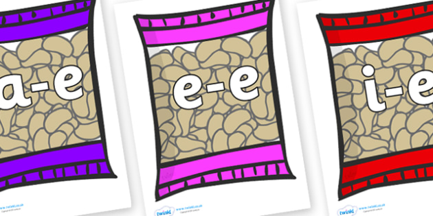 Modifying E Letters on Crisps - Modifying E, letters, modify, Phase 5, Phase five, alternative spellings for phonemes, DfES letters and Sounds