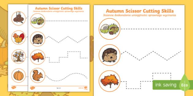 Autumn themed cutting skills activity sheets English/Polish