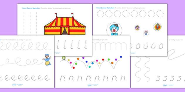 Circus Pencil Control Worksheets - fine motor skills, the circus