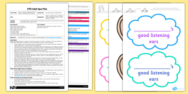 EYFS Everyday Sounds Listening Game Adult Input Plan and Resource Pack - planning, plans