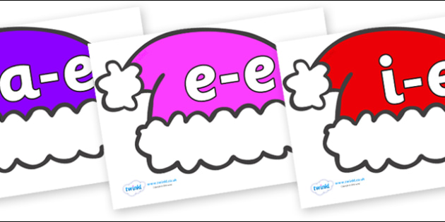 Modifying E Letters on Santa Hats - Modifying E, letters, modify, Phase 5, Phase five, alternative spellings for phonemes, DfES letters and Sounds