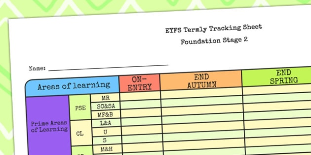 EYFS Individual Termly Tracking Sheet FS2 - EYFS, track sheet