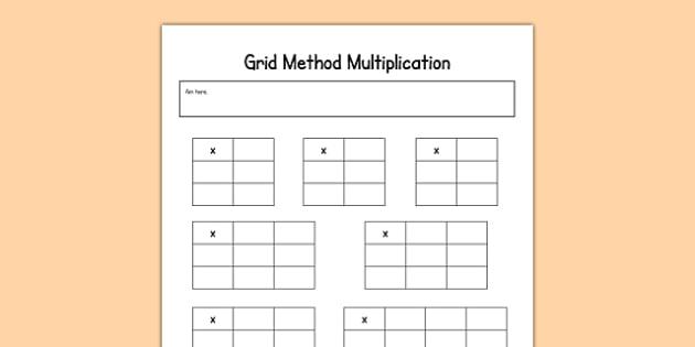 Editable Grid Method Multiplication Grids maths calculation – Grid Multiplication Worksheets