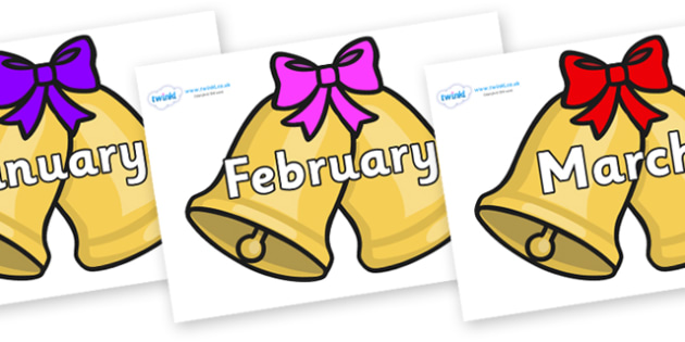 Months of the Year on Christmas Bells (Bows) - Months of the Year, Months poster, Months display, display, poster, frieze, Months, month, January, February, March, April, May, June, July, August, September