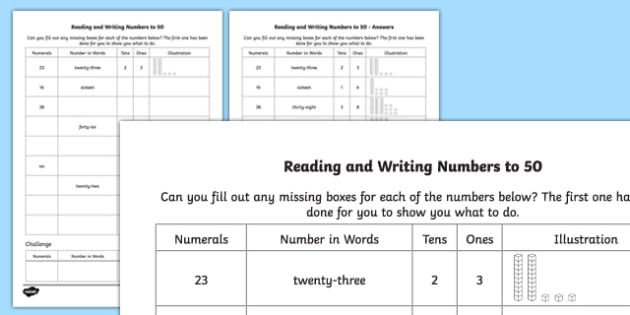 Reading and Writing Numbers to 50 Activity Sheet - reading, writing, numbers, 50, activity, worksheet