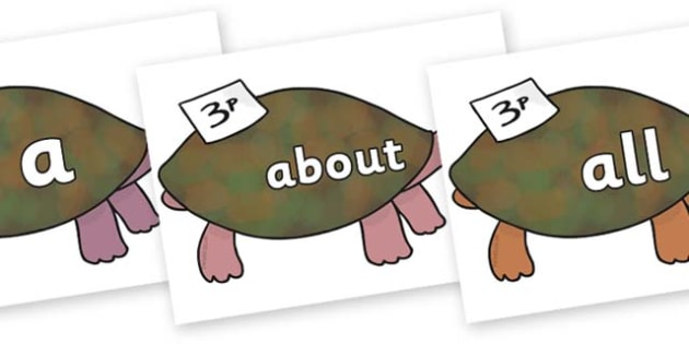 100 High Frequency Words on Turtle to Support Teaching on The Great Pet Sale - High frequency words, hfw, DfES Letters and Sounds, Letters and Sounds, display words