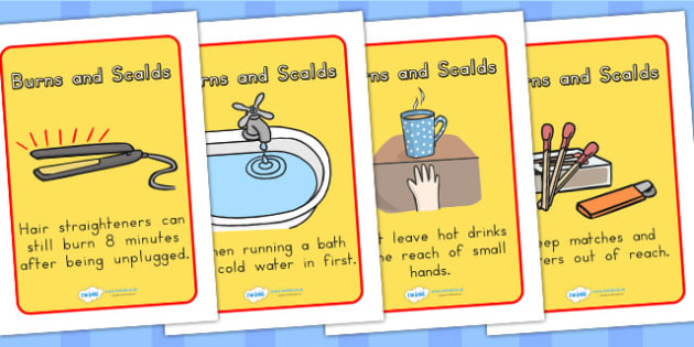 Scalds and Burns Safety Posters - scalds, burns, fire, safety