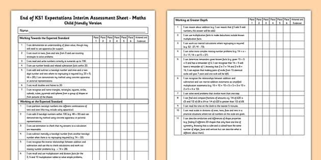End of KS1 Expectations Interim Assessment Tracking Sheet - Maths (Child Friendly Version) - Maths (Child Friendly Version) - end of ks1, expectations, tracking sheet, track, maths