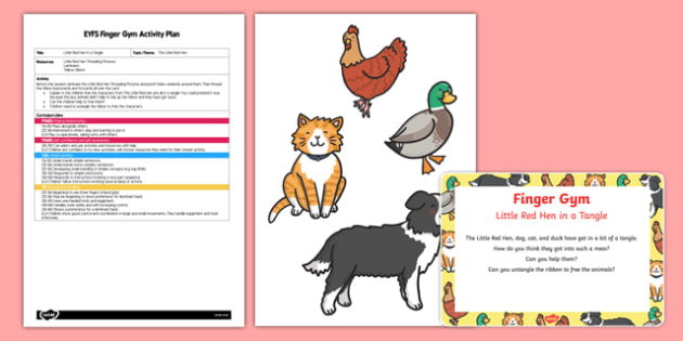 EYFS The Little Red Hen in a Tangle Finger Gym Plan and Resource Pack