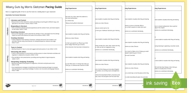 Pacing Guide to Support Teaching on Misery Guts by Morris Gleitzman  Guide-Australia - Literacy, misery guts, morris gleitzman, Misery Guts by Morris Gleitzman Pacing  Guide, pacing guide