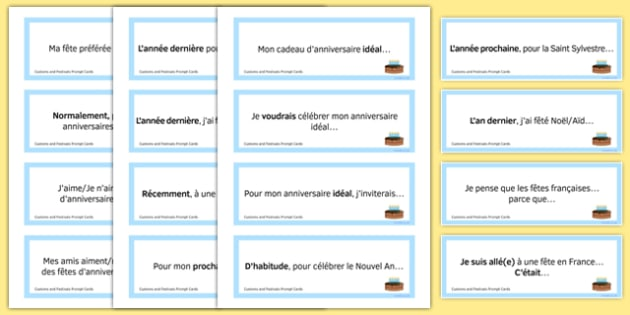 General Conversation Question Prompt Cards Customs and Festivals - french, Conversation, Speaking, Questions, Customs, Festivals, Traditions, Fêtes, Coutumes, Noël, Pâques, Christmas, Easter, Anniversaire, Birthday, Cards, Cartes