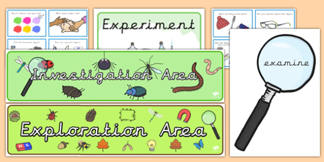 EYFS Investigation Area Classroom Set Up Pack Precursive - eyfs, investigation, area, classroom, set up, pack