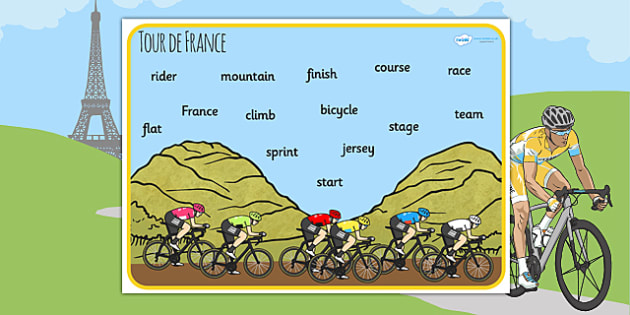 Tour de France Word Mat - le tour, bicycle, visual aid, keywords