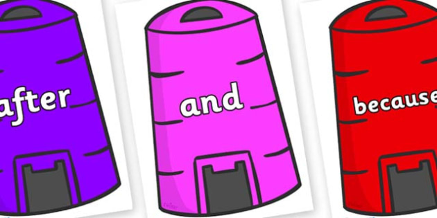 Connectives on Recycling Bins - Connectives, VCOP, connective resources, connectives display words, connective displays