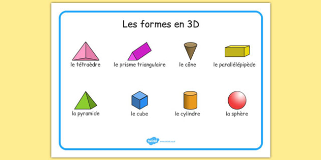 Les formes en 3D - french, Word mat, writing aid, 3D Shape names, Shape Flashcards, Shape Pictures, Shape Words, 3D flashcards